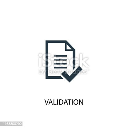 validation icon. Simple element illustration. validation concept symbol design from analytics, research collection. Can be used for web and mobile.