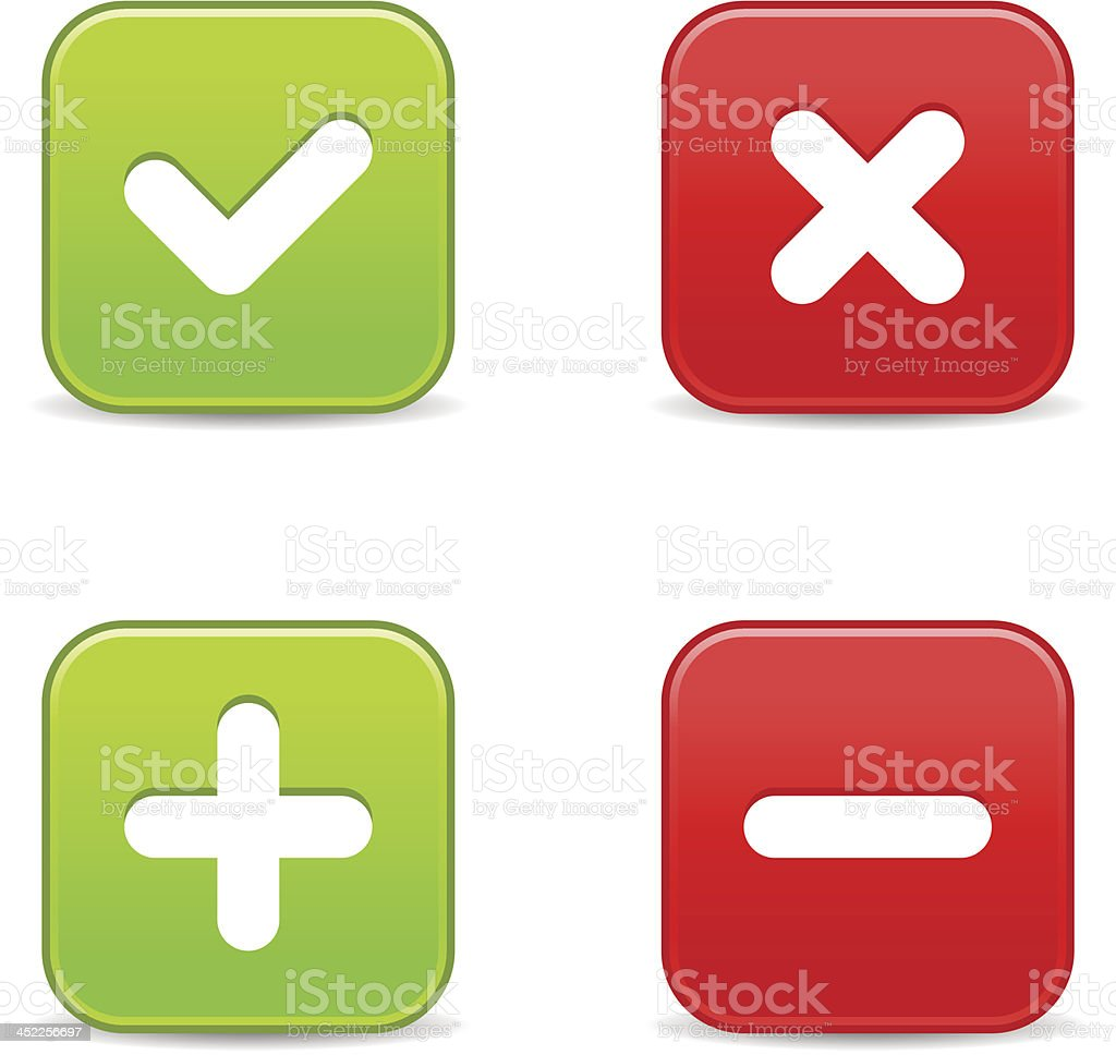 Validation icon square button plus minus check mark delete sign royalty-free stock vector art