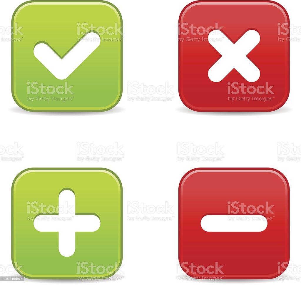 Validation icon square button plus minus check mark delete sign vector art illustration