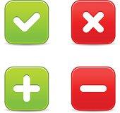 Validation icon square button plus minus check mark delete sign