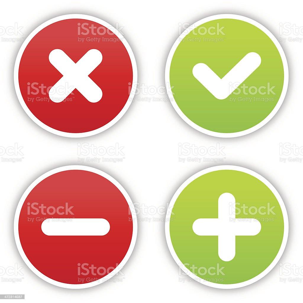 Validation sticker round label satin icon web button shadow vector art illustration