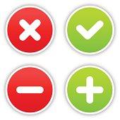Validation sticker round label satin icon web button shadow