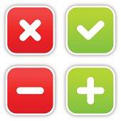Validation sticker square label satin icon web button shadow