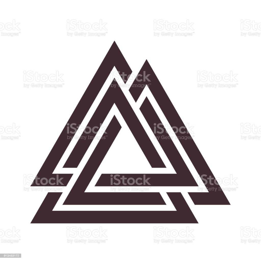 Valknut rune as the symbol of the Germanic peoples. vector art illustration