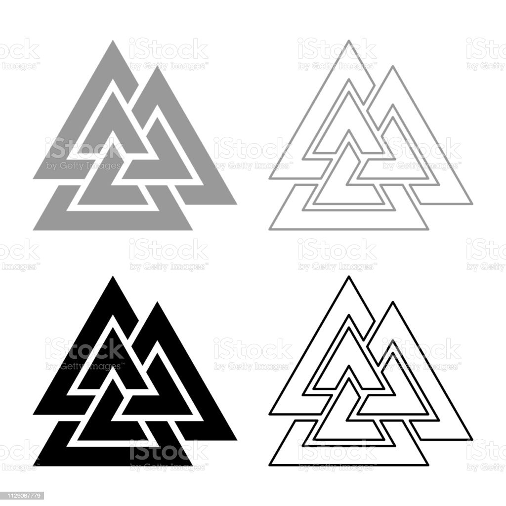 Valknut Sign Symblol Icon Set Grey Black Color Illustration Outline