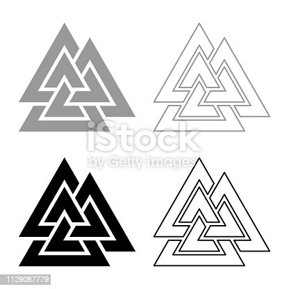 Valknut sign symblol icon set grey black color vector illustration outline flat style simple image