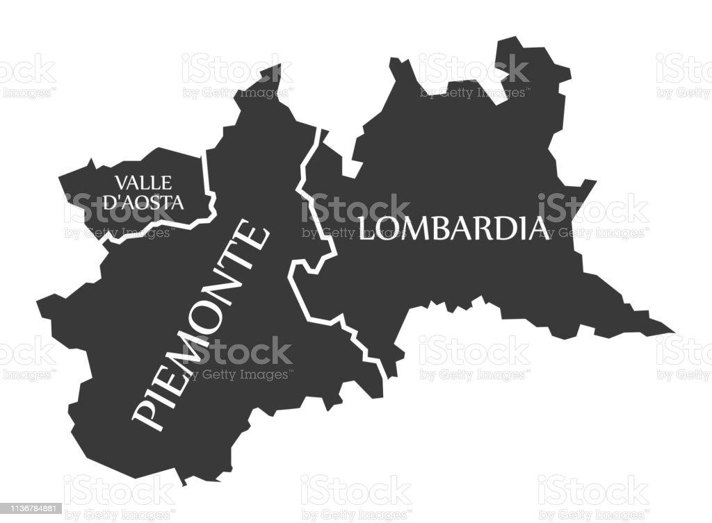 Cartina Stradale Valle D Aosta.Valle Daosta Piemonte Lombardia Region Map Italy Immagini Vettoriali Stock E Altre Immagini Di Carta Geografica Istock