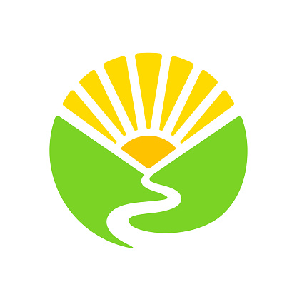 Simple sign with valley, river and rising sun in circle shape. Green hills and sunrise landscape. Modern vector symbol illustration.