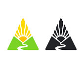 Simple emblem with valley, river and rising sun in triangle shape. Mountain landscape in color and black and white version. Modern vector symbol illustration.