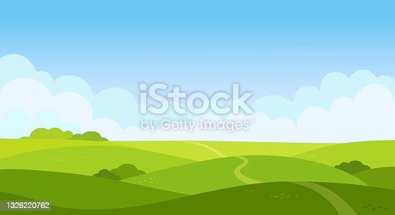 istock Valley landscape in flat style. Cartoon meadow landscape with grass. Blue sky with white clouds. Empty green field with trees and road. Summer day. Green hills background, empty glade template. Vector. 1326220762
