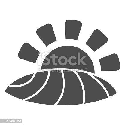 istock Valley with a vineyard solid icon, Wine festival concept, Farm field sign on white background, farming logo icon in glyph style for mobile concept and web design. Vector graphics. 1281367268