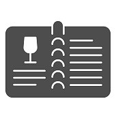 Valuable wine menu or wine book solid icon. Menu with alcohol drink glass and text glyph style pictogram on white background. Winery signs for mobile concept and web design. Vector graphics