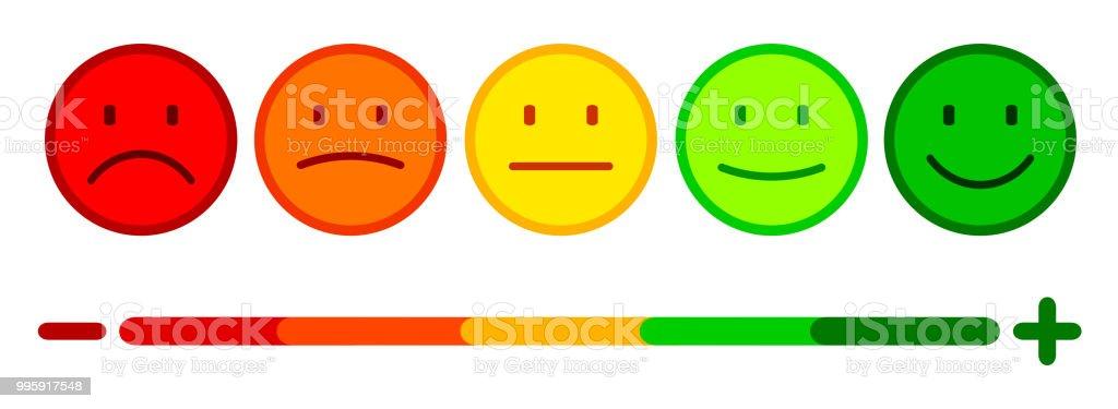Ilustración De Valoración De Emoticones Smiley Set De