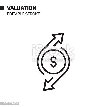 Valuation Line Icon, Outline Vector Symbol Illustration. Pixel Perfect