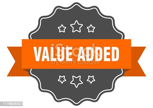 value added isolated seal. value added orange label. value added