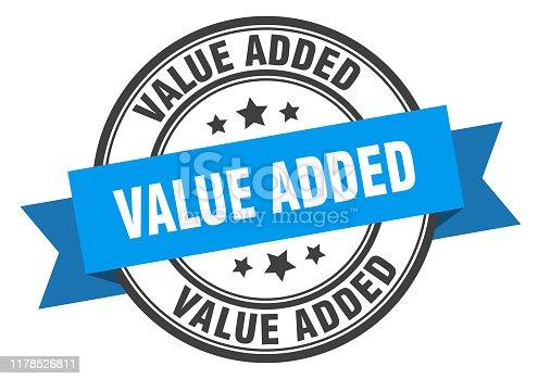 value added label. value added blue band sign. value added