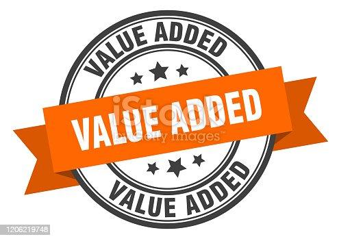 value added label. value added orange band sign. value added