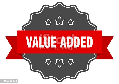 value added red label. value added isolated seal. value added