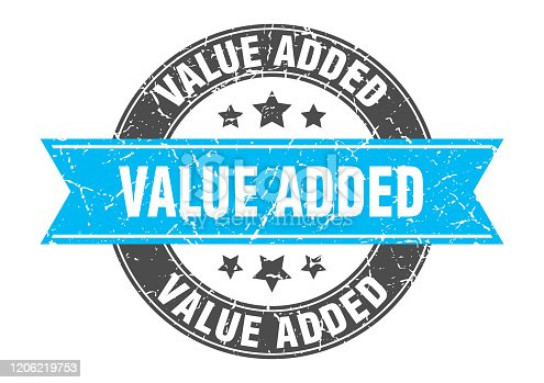 value added round stamp with turquoise ribbon. value added