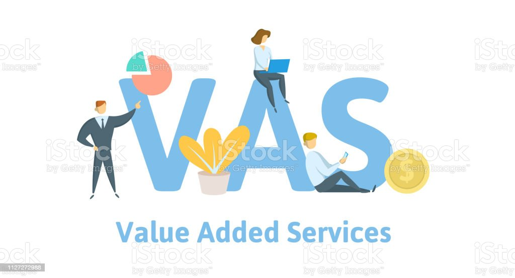 Vas Value Added Services Concept With Keywords Letters And