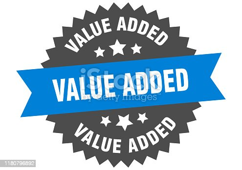 value added sign. value added blue-black circular band label