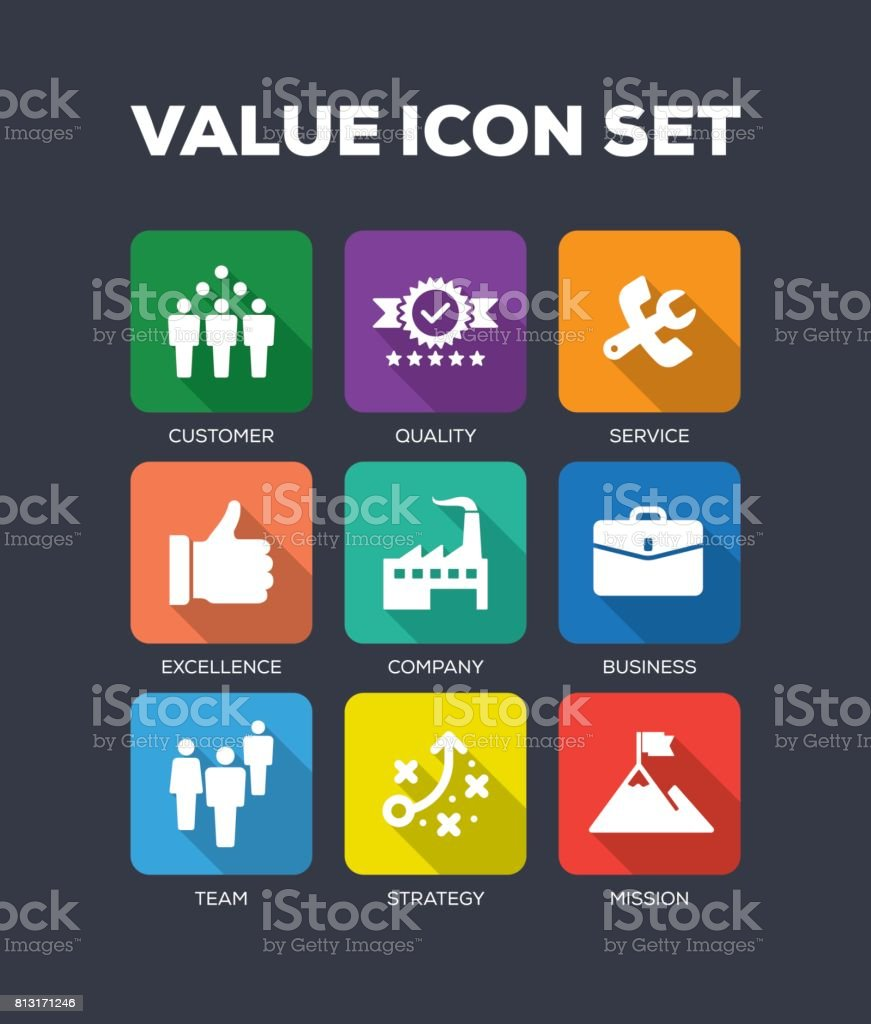 Value Flat Icon Set vector art illustration