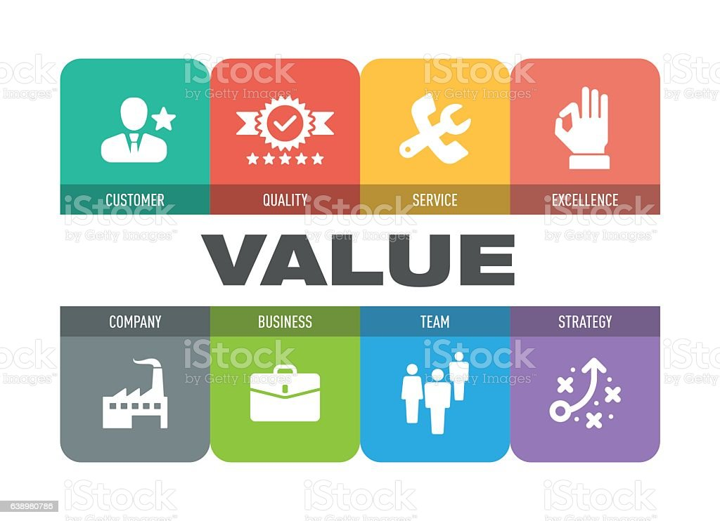 Value Icon Set vector art illustration