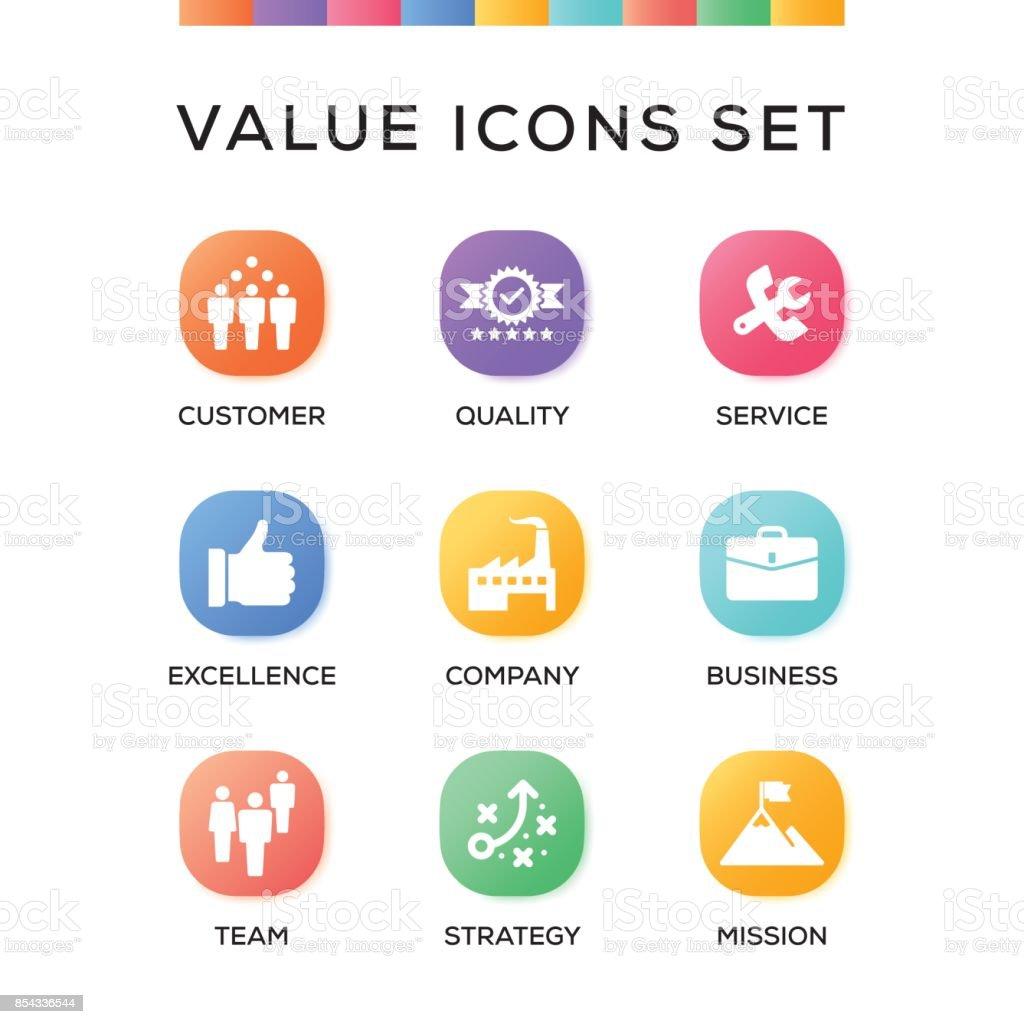 Value Icons Set on Gradient Background vector art illustration