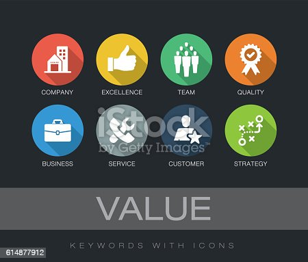 Value chart with keywords and icons. Flat design with long shadows