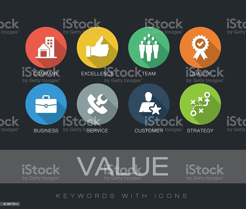 Value keywords with icons vector art illustration