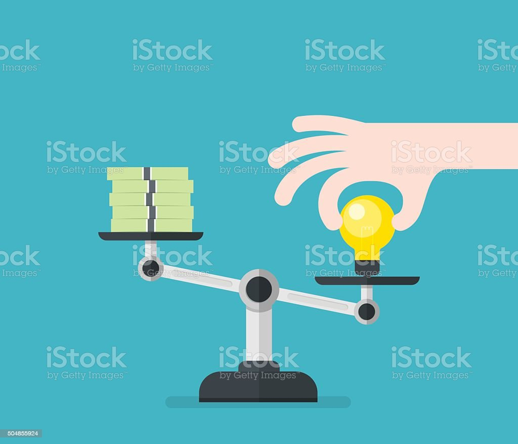 Value of idea. Concept of compare value. vector art illustration