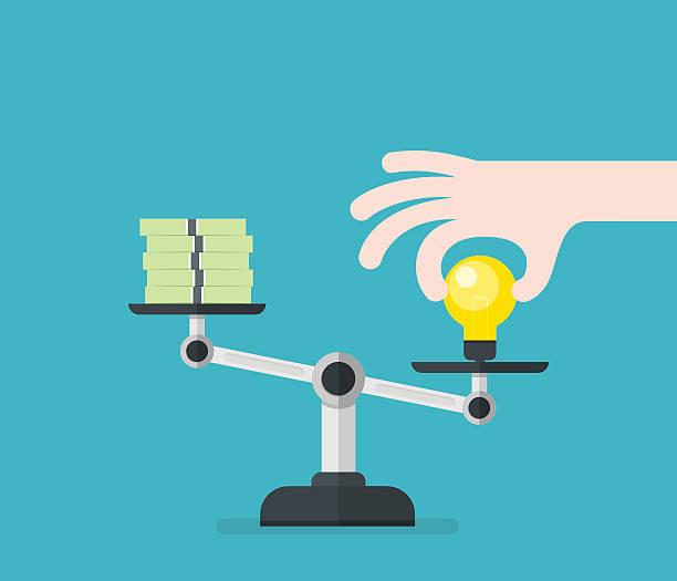 Value of idea. Concept of compare value. vector art illustration