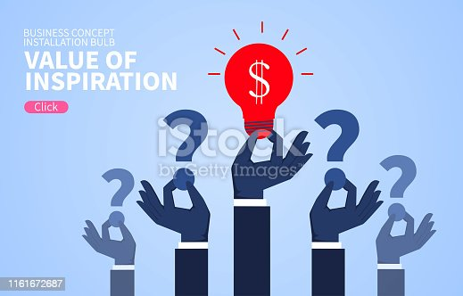 Value of inspiration, hand holding question mark with light bulb