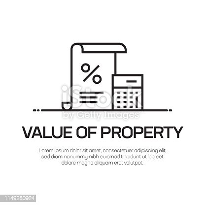 Value Of Property Vector Line Icon - Simple Thin Line Icon, Premium Quality Design Element