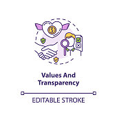 Values and transparency concept icon. Company reliability. Company culture. Core corporate ethics idea thin line illustration. Vector isolated outline RGB color drawing. Editable stroke