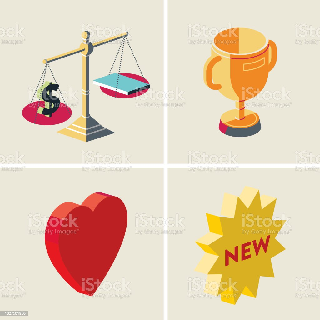 value-winner-loved-new vector art illustration