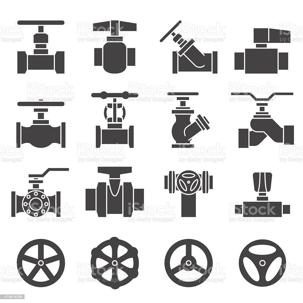 Valve and Taps icon set vector art illustration