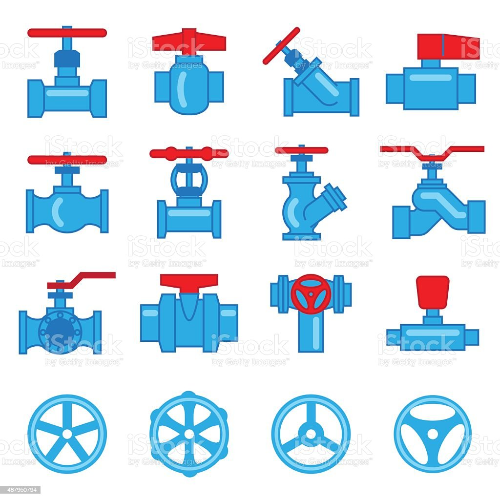 Valve and Taps icon set vector art illustration