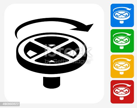 Valve Handle Icon. This 100% royalty free vector illustration features the main icon pictured in black inside a white square. The alternative color options in blue, green, yellow and red are on the right of the icon and are arranged in a vertical column.