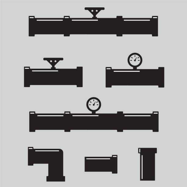 valve, taps, pipe connectors, pipe details. pipe fittings vector icons set - flange stock illustrations, clip art, cartoons, & icons