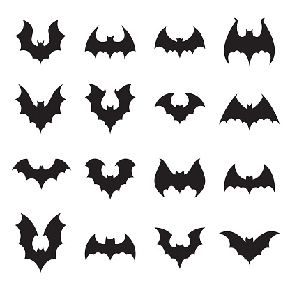 Vampire bat silhouette. Halloween bats decoration, hanging cave flittermouse and scary rearmouse animal vector silhouettes collection