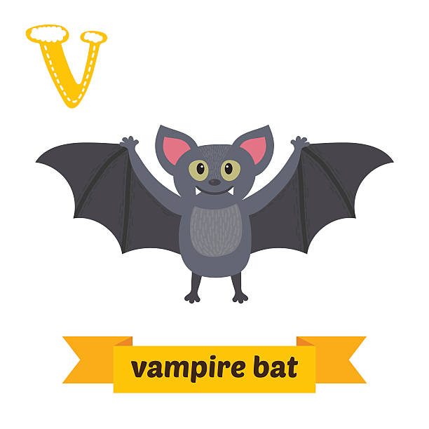 vampire bat. v letter. cute children animal alphabet in vector. - bat stock illustrations, clip art, cartoons, & icons