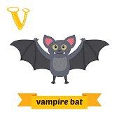 Vampire bat. V letter. Cute children animal alphabet in vector.