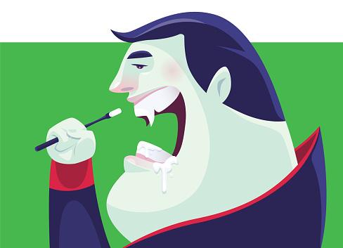 vampire brushing teeth