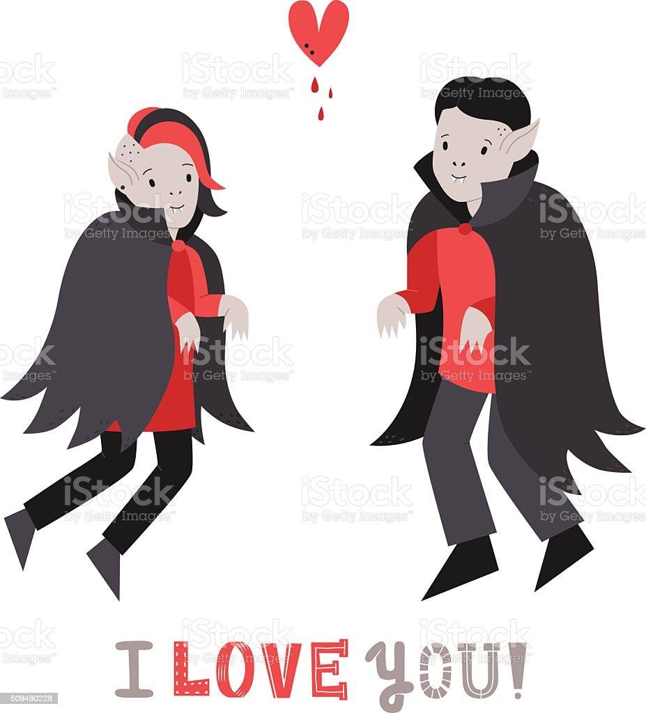 吸血鬼かわいいカップルの愛にハートのベクトルイラスト部品 - いたずら