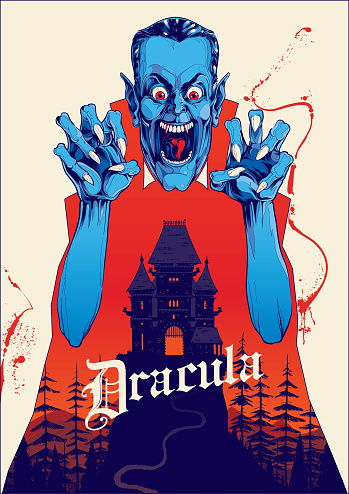 Vampire Dracula Poster and haunted house illustration