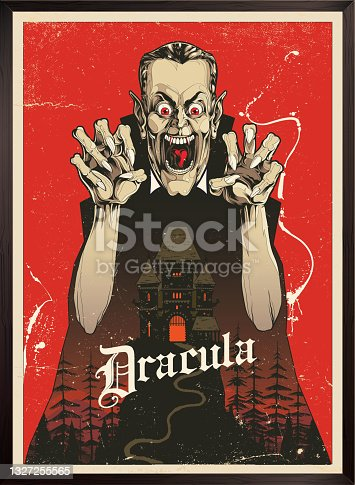 istock Vampire Dracula Poster and haunted house illustration 1327255565
