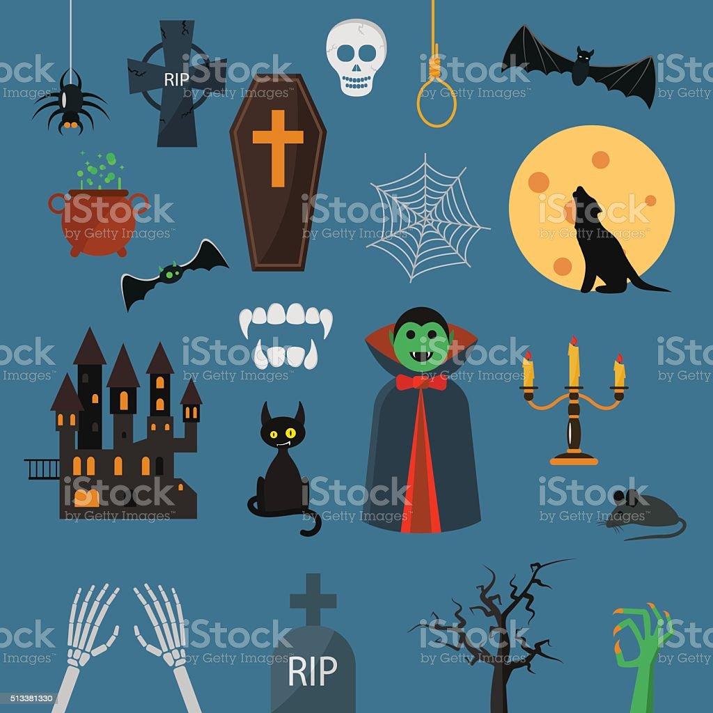 Vampire dracula symbols icons vector set vector art illustration