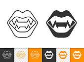 Vampire Fangs simple black line vector icon