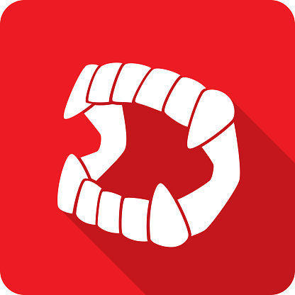 Vector illustration of a red vampire fangs toy icon in flat style.
